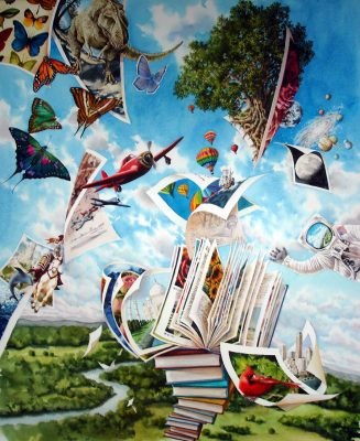 """The Wonder of Books commissioned for a school library  watercolor 20"""" x 30"""""""