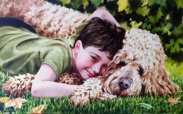 "Quinn and Max  watercolor 14"" x 20"""