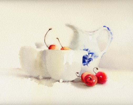 red cherries with white