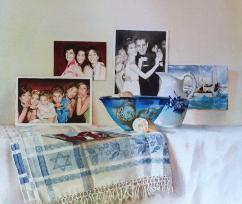 "Birthday celebration commissioned by grandchildren  watercolor 16"" x 20"""