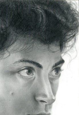 """self portrait  graphite on clayboard 5"""" x 7"""""""