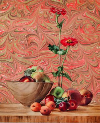 """apples and peaches watercolor collage with marbled paper 22"""" x 18"""""""